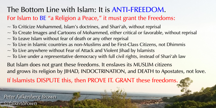 The Bottom Line with Islam: It is ANTI-FREEDOM