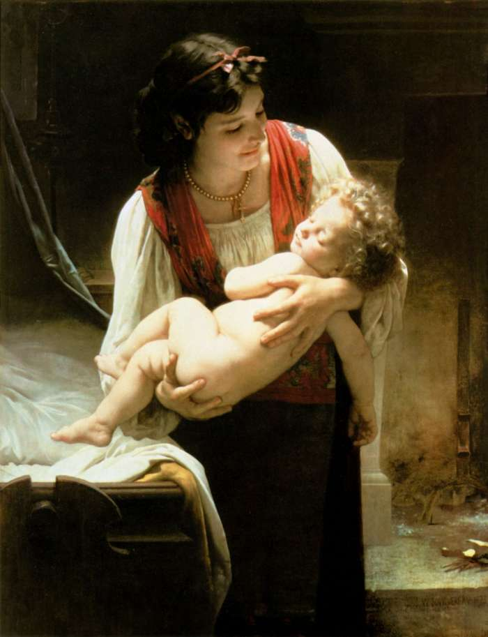 "Painting of ""Berceuse (Le coucher)"" [Lullaby (Bedtime)], 1873, by William-Adolphe Bouguereau"